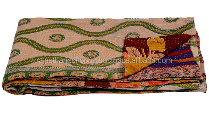 Kantha Quilt Vintage Cotton Saree Fabric