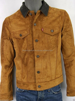 Classic Jean Design Men's Cowhide Suede Leather Jacket