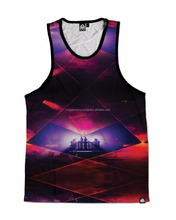 Polyeste+cotton sublimation printed tank top / Polyester mesh tank top jersey