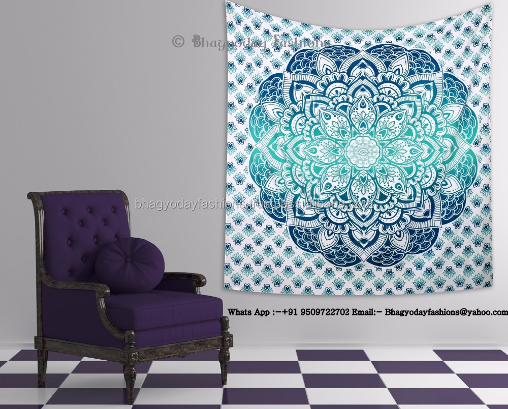 Printed Indian Tapestry Mandala Cotton Decor Ombre Bedspread Beach Bedding Blanket Throw Wall Hnaging