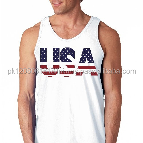 USA body building gym tank top stringer vest for men