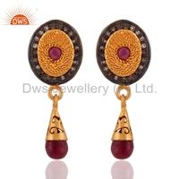 Diamond & Ruby Gemstone Designer Earrings, 22kt Gold Vermeil Sterling Silver Earring