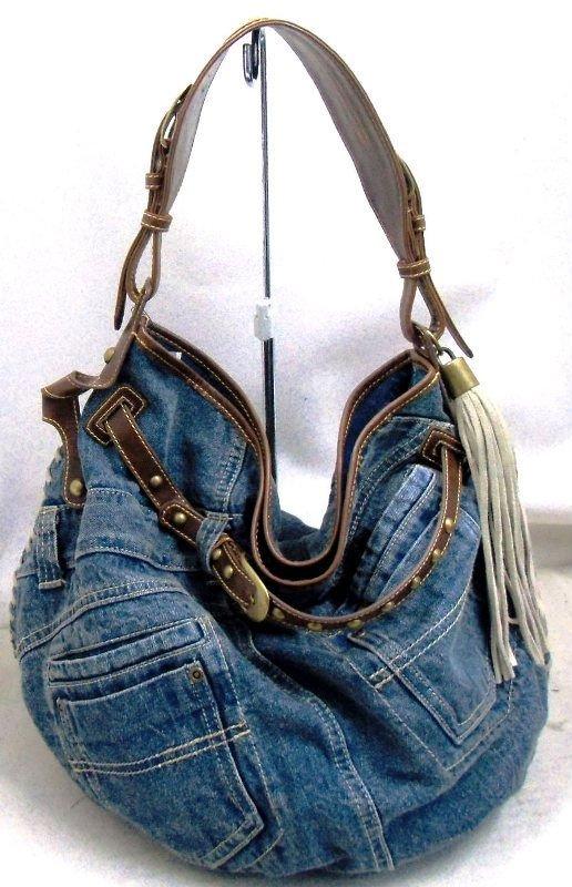Denim Shoulder Bag For Old Woman