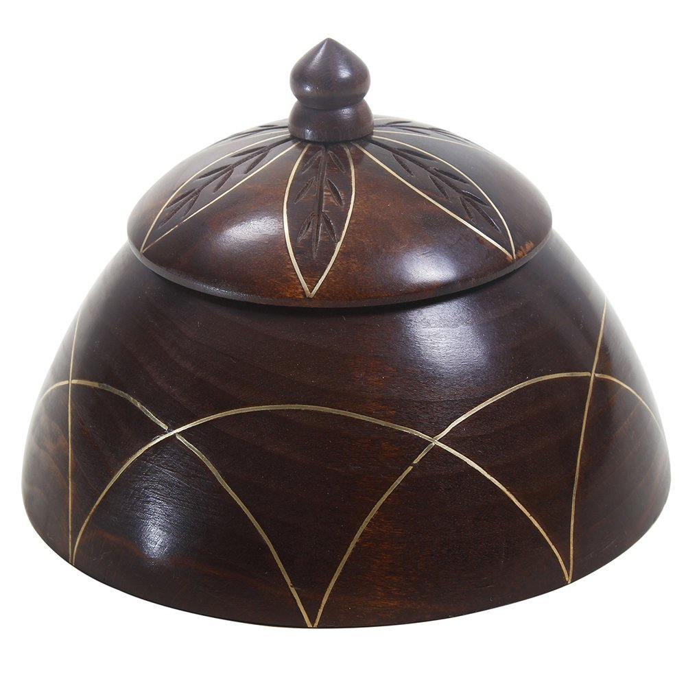 Store Indya Wooden Jewellery Trinket Storage Box With Brass inlay