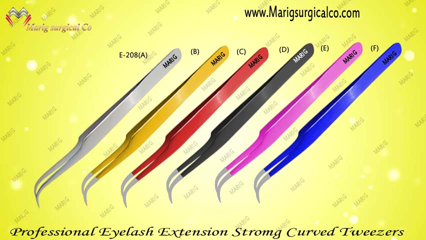 Professional Eyelash Extension Strong Curved Tweezers / All Colors Availible / New Custem Brand From Marig Surgical Pakistan