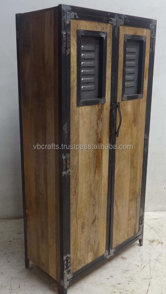 first rate 41561 6921f Industrial Urban Loft Wooden Metal Wardrobe - Buy Unfinished Wood  Wardrobe,Modern Industrial Urban Cabinet,Handmade Furniture India Product  on ...