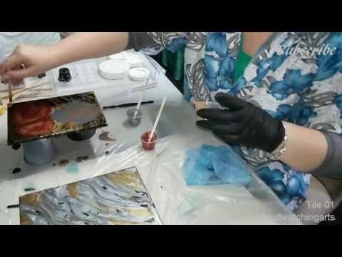 Resin Tiles - Resin, Paint, Art, Acrylic, Create, Marbling, Ebru, Timelapse