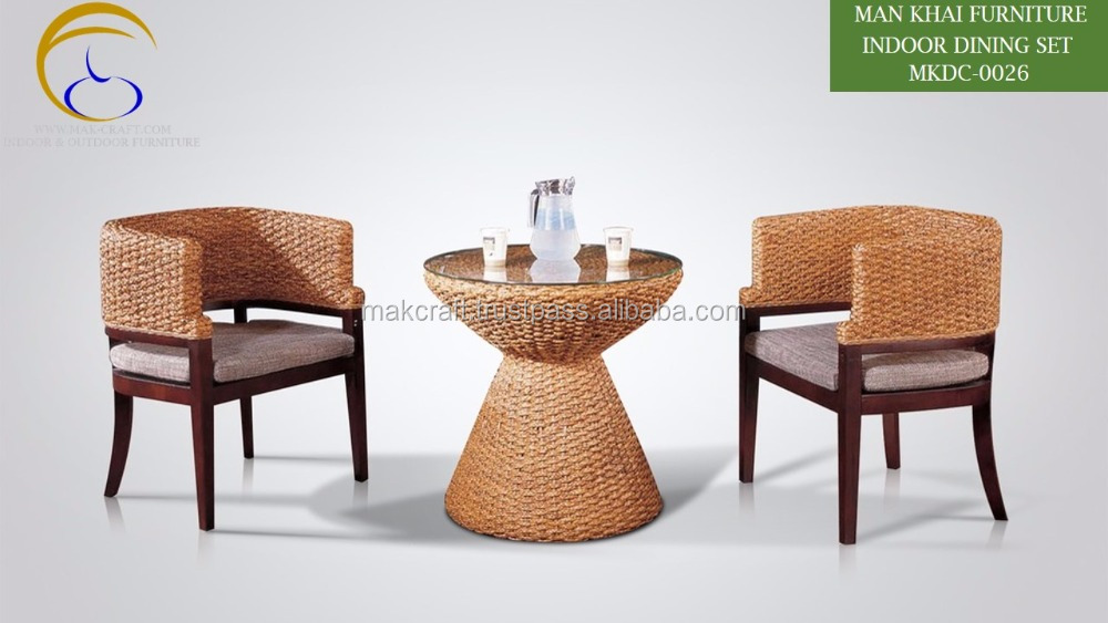 Newest Indoor Coffee Tea Table Set Cane Wicker Rattan Water Hyacinth Dining Furniture