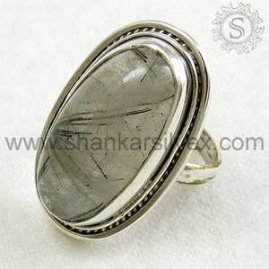 Innovative Collection Of 925 Sterling Silver Black Rutile Gemstone Ring Online Silver Jewelry Production