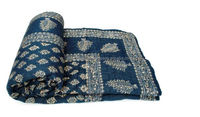 vintage Blue block printed sanganeri floral patch work kantha quilt