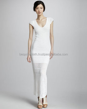 Latest Stylish Exclusive Handmade Crochet Sexy Long Dress For Party