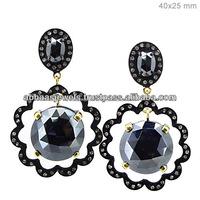 925 Sterling Silver Black Spinel Gemstone Top Design Long Earrings 14K Gold Diamond Wholesale