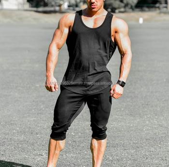 fd64243b7 Men's grey gym tank tops cotton/spandex vests custom gym singlet's