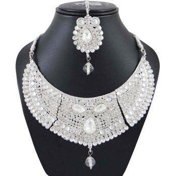 Silver Tone Ethnic Design Cz Stone Necklace Maang Tikka Set Designer