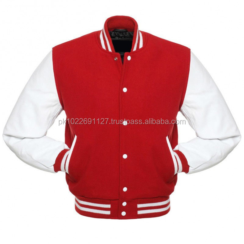 Red Varsity Jacket Custom Wool Body/ Wholesale Baseball Varsity Jacket/ Custom Letterman