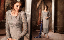 Grey Faux Georgette Straight Salwar Suit/ Anarkali Suits Online Shopping India/ Salwar Kameez Online Sale