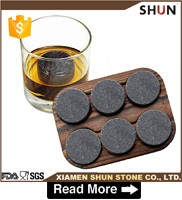 High-end Soapstone Natural Whiskey Ice Stone/Whiskey Stones In Rocks Wooden Gift Box