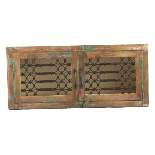 Reclaimed Timber Metal Jali Design Coffee Table