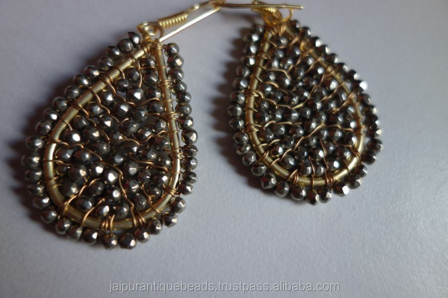 Natural Pyrite 35x50mm Pear shape Gold plated rady To wear Earrings