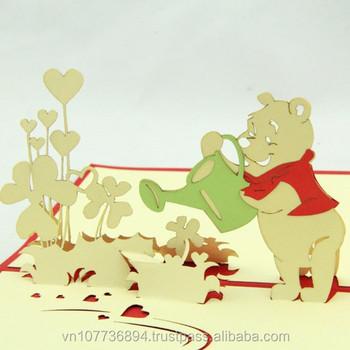 Birthday Pooh Bear Pop Up 3d Handicrafthandmade Paper Card Buy