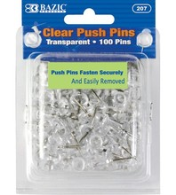 BAZIC Clear Transparant <span class=keywords><strong>Push</strong></span> Pins (100/Pack)