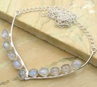 14.00ctw Rainbow Moonstone Oval Shape Party Wear Fasion 925 Sterling Silver Necklace Jewelry