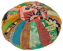 Indian Vintage Kantha Patch work Moroccan Pouf ottoman