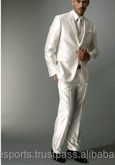 White Mens Wedding Suit Slim Fit Suits Men Viscose