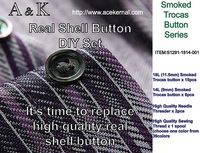 Smoked Real Shell Button DIY Set (Trocas Shell Button 18L/14L + sewing Thread Spool)
