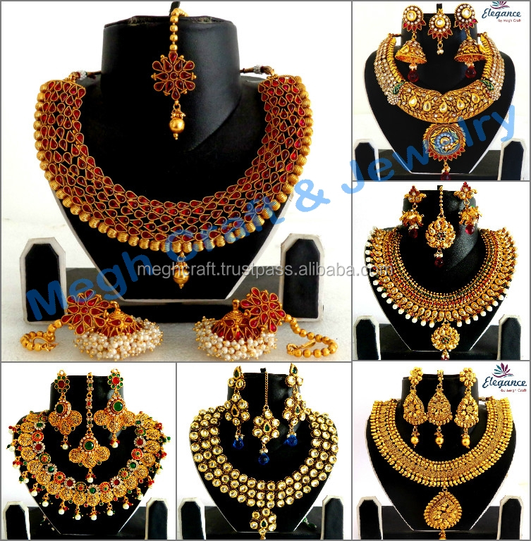 8174d1c401adb Indian Traditional Jewelry Set - Wholesale One Gram Gold Plated Jewellery -  Wedding Wear Polki Necklace Set - Bollywood Style Se - Buy Indian Bridal ...