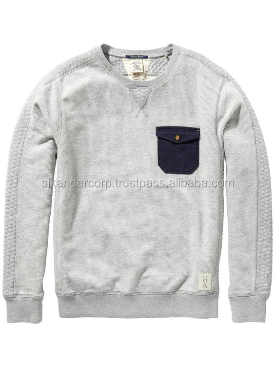 Front Pocket Quilted Fleece Sweat Shirt