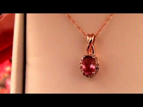 Target Allura 0.8 CT. T.W. Pink Oval Cut Tourmaline 0.1 CT. T.W. Diamond Necklace in 10K Pink Gold