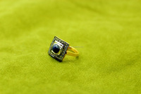 925 Sterling Silver Gold Polish Natural Sapphire with Sparkle Diamond Victorian Jewelry Ring Good Quality.