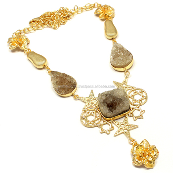 e1b33eb8f399d 22 Carat Gold Plated Browm Color Sugar Agate Beaded Chain Bead Vintage  Beautiful L Necklace - Buy Gold Stone Necklace Designs,Gold Chain Necklace  ...