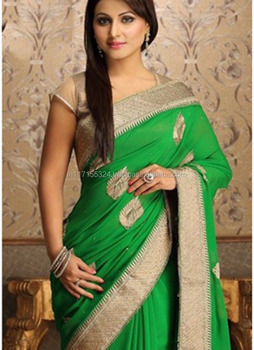 549e729a663d9 Green Designer Party Wear Fancy Saree - Buy Latest Saree Design 2016 ...