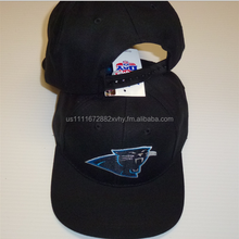 Carolina Panthers Black Flatbill Hat w/ Panthers Logo Embroidered on the Front - Snap Back
