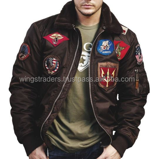 Flight Bomber Jacket Heavy Vintage Patch Work Jacket For Men - Buy ...