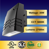 LEDi2 LED Wall pack Fixture 30W Cool White 5000K 2700lm Waterproof and Outdoor Rated, CUL & DLC, RoHS Shield Included