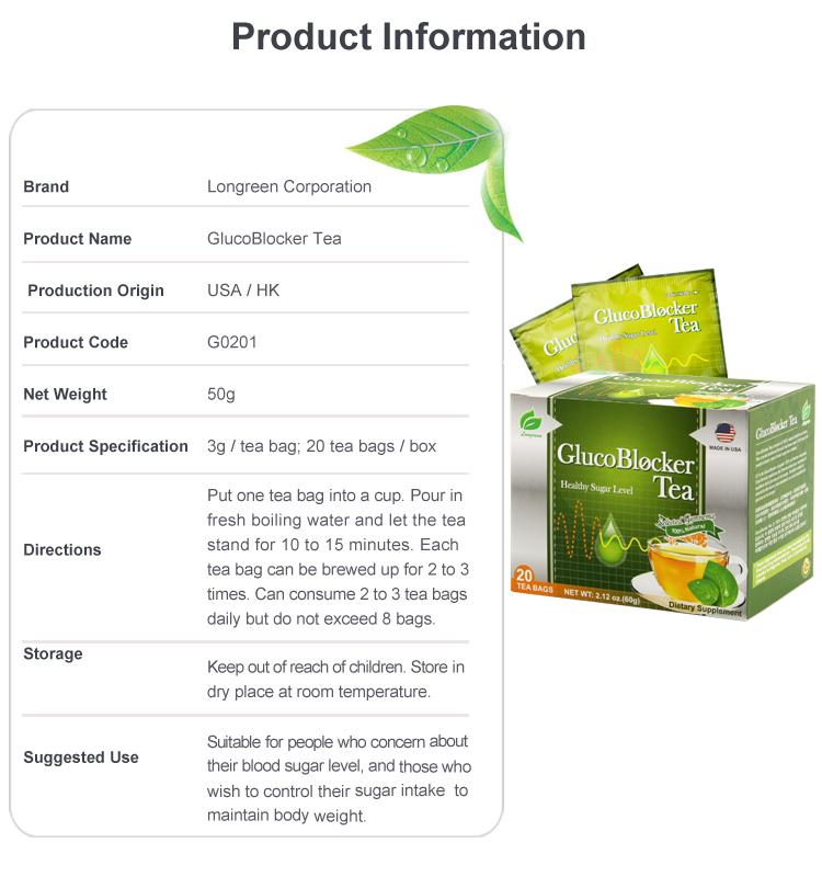 Glucoblocker Tea GMP Natural Bleneded Herabl Diabetic green tea bag