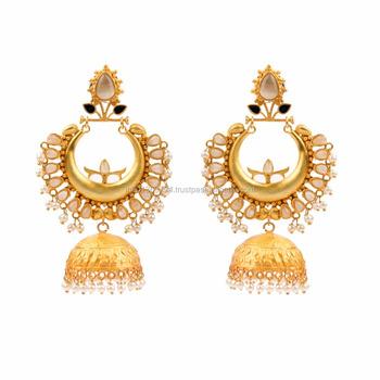 Pearl Beaded Mughal Jhumka Matt Finished Designer Ethnic Wedding Wear Light Weight Gold Tone Costume Earrings Indian