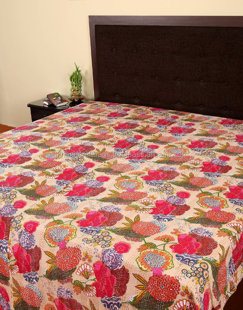 Bedspread Cotton Blanket Vintage Quilt Throw Ralli Gudari Handmade Kantha Quilt Meticulous Dyeing Processes Bedding