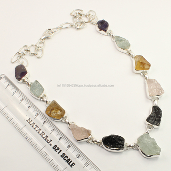 Marvellous Necklace 925 Solid Sterling Silver Natural MULTI-COLOR Raw Rough Gemstones ! Exporter