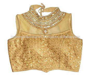 151446d710 Designer Readymade Golden Chiffon Sequin Saree Blouse - Buy ...