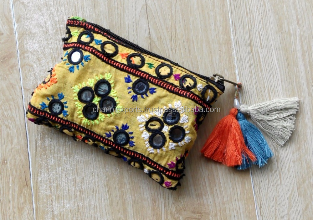Indian handmade bohemian style banjara coin purse with colorful fringes