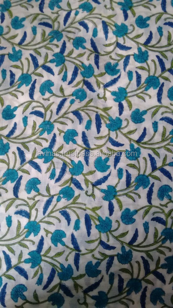 block printed cotton fabric indian ethnic cotton fabric hand made sanganeri fabric