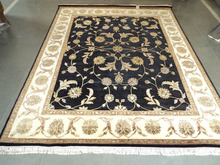 9x12 designer pure silk wool carpet indian hand knoted rug