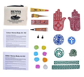 Henna Body Art Kit With 1colour Henna Tube 1 Glitter Henna Cone