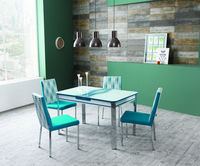 Extendable Turquoise Dining Table set