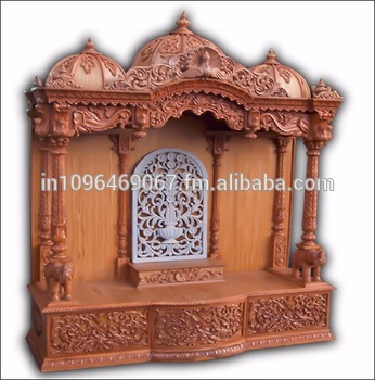 Wooden Temple Altar Mandir Hindu God Statue Indian Temple