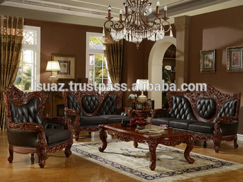 Clic Furniture Luxury Living Room Wooden Sofa Set Solid Designs Sets Whole Price Drawing